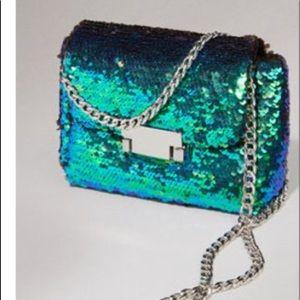 TOPSHOP NWOT GREEN BLUE SILVER CHAIN CROSSBODY BAG